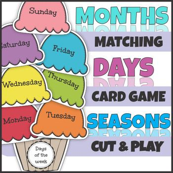 Ice Cream Days, Months and Seasons Cut and Play Card Game Sets are hands-on activities in which children play with ice-cream scoops and cones: - to practice sorting words; - develop an understanding of the what the days of the week, months and seasons are; - each days, months and seasons position in relation to other