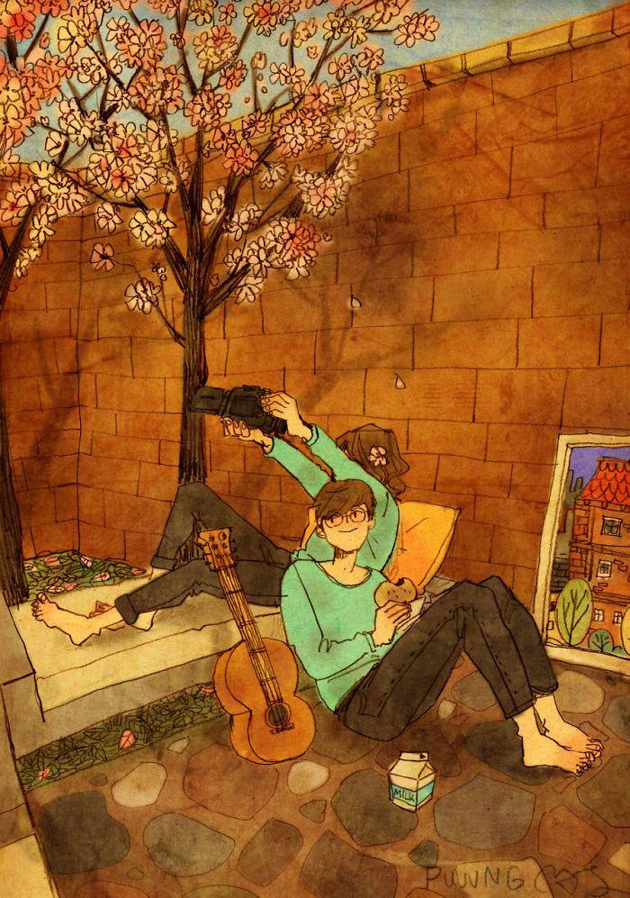 Artista faz série de desenhos que fazem lembrar uma verdade universal: O amor está nos detalhes.