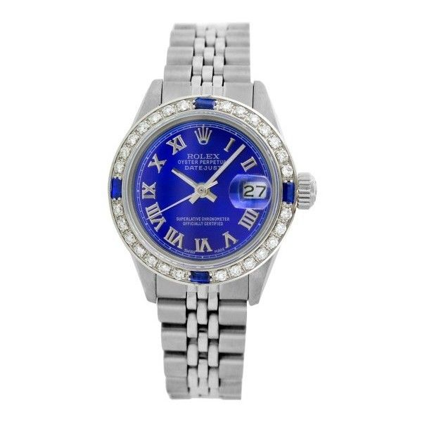 Pre-owned Rolex Datejust 6917 Stainless Steel and Blue Roman Numeral... ($3,718) ❤ liked on Polyvore featuring jewelry, watches, roman numeral jewelry, preowned watches, pre owned watches, rolex jewelry and blue jewelry