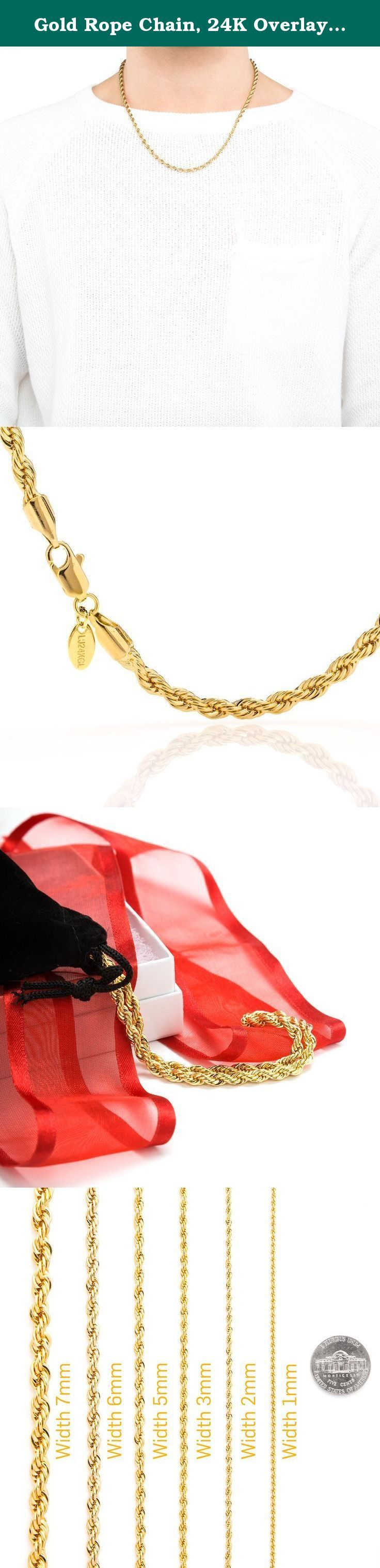 Gold Rope Chain, 24K Overlay, Stunning High End Necklace for Men or Women, Tarnish-Resistant, Guaranteed for Life, Made in USA by Lifetime Jewelry, Choker or Long, 18-36 inches, 5MM. Be the most stunning person in the crowd when you wear this Rope Chain Necklace by Lifetime Jewelry ! Coated with 24-karat gold over a heart of semi-precious metals, this rope chain necklace is stunningly beautiful. It looks charming on anyone and is perfect to wear on any occasion. This rope chain necklace…