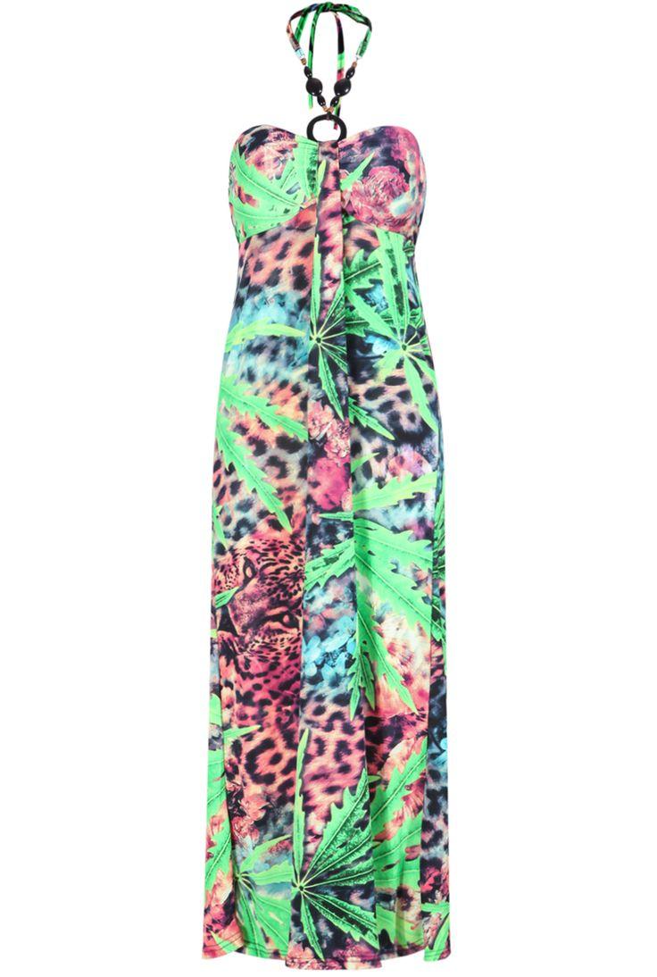 SUMMER  dress 2015   Maxi dress hawai  Ärmelloses Maxikleid Neckholder mit Leopard Muster, grün 14.88