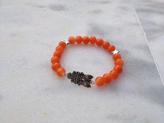 Coral glass stone bracelet with silver owl charm by HappyDonkey, €5.00