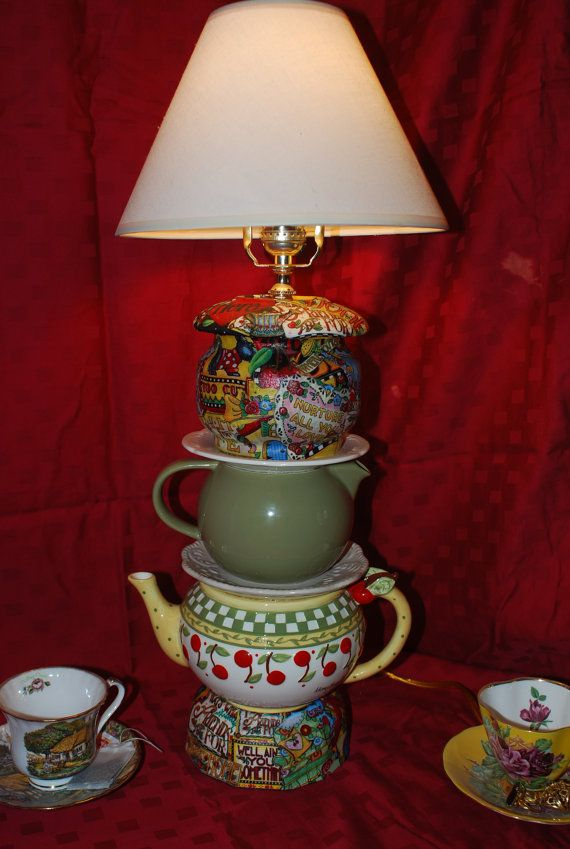 Handmade Mary Engelbreit  Upcycled Teapot by AlliesGiftBoutique: Mary Englebreit, Lights Lamps, Mary Englebright, Mary Engelbreit, Mary Engelbriet, Engelbreit Teapot, Teapot Lamps, Crafts, Handmade Mary