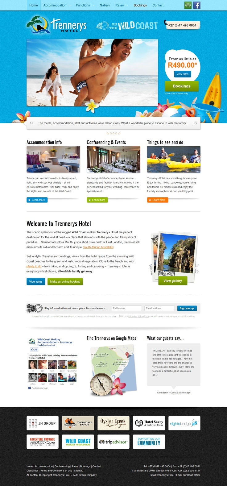 Website design for Trennerys Hotel on the Wild Coast.