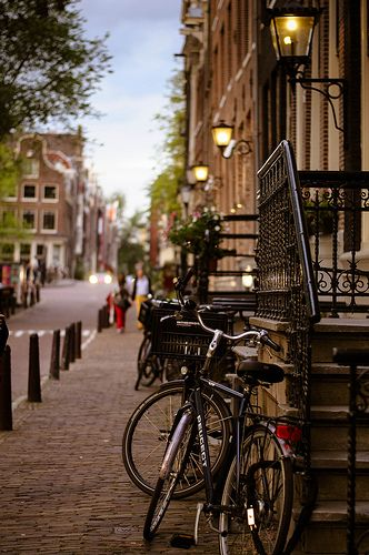 Streets of Amsterdam, The Netherlands As always, we will most likely rent bikes to get around.