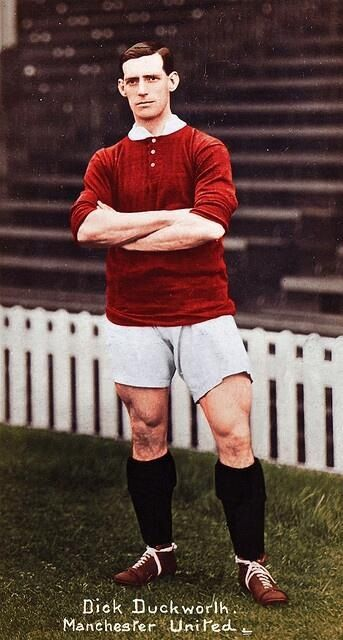 Dick Duckworth (and his monster thighs), 1912 (colourised) in the contemporary Manchester United home kit.