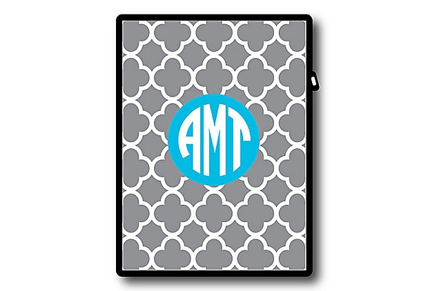 Custom monogrammed ipad cover. Digging the color combo of gray and bright blue.
