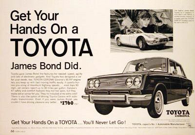 Toyota Corona Sedan Ad #advertisement #jamesbond #ad #print #toyota #corona #bennett #vintage #throwback #retro #pennsylvania