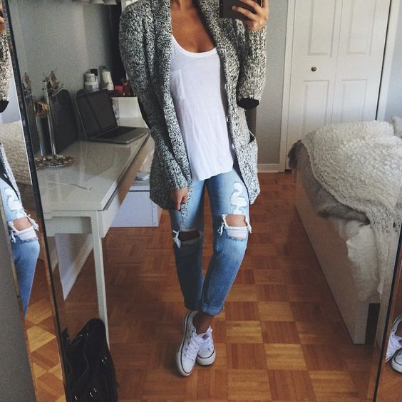 30 really cute outfit ideas for school 2019 – back to school outfits – School outfits for teen girls cozy cardigans