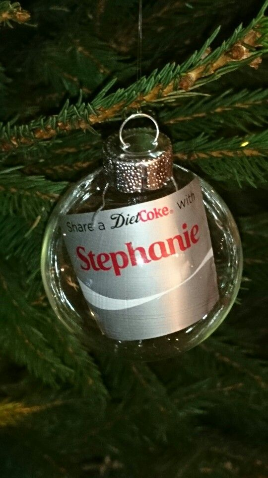 Personalised Coca Cola tree ornaments. Share a coke with Stephanie. Trim your bottle label down and roll up to pop into a clear bauble :-)