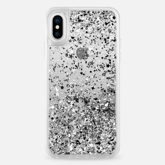 Casetify iPhone X Liquid Glitter Case - Silver Black White Confetti Explosion by Organic Saturation #iphone,