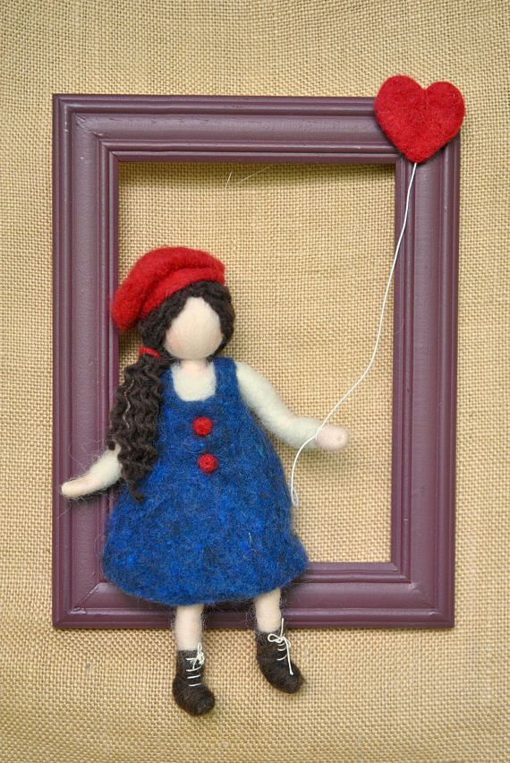 Wool Picture Girls Home Decor :Girl with heart balloon