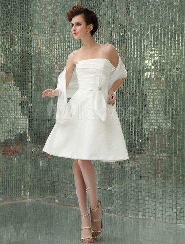 Mini vestido de novia de tafetán para recepción - Milanoo.com.  54€ rosa o plata.  11€ mas a medida
