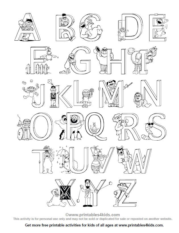 sesame street alphabet coloring page printables for kids free word search puzzles coloring - A Coloring Page