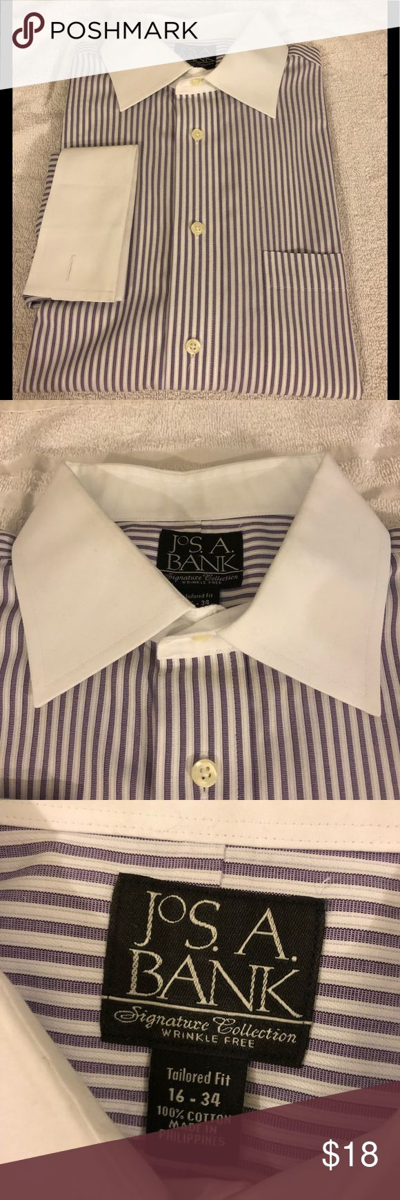 Jos A Bank Purple Stripe French Cuff Shirt 16-34 Jos A Bank Signature Collection Purple and White Stripe White Collar French Cuff Tailored Fit Dress Shirt size 16-34! Great condition!  Please make reasonable offers and bundle! Ask questions :) Jos. A. Bank Shirts Dress Shirts
