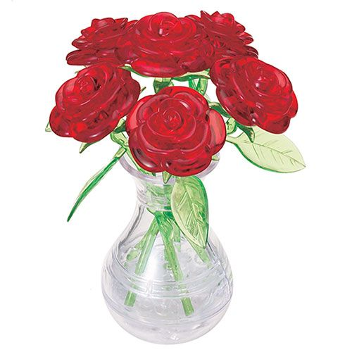 Crystal Puzzle Six Rose Red 3D
