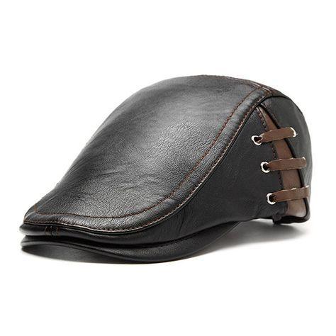 Casquette PU décontractée réglable avec lacets Casquette coupe-vent chaude hiver extérieure pour hommes