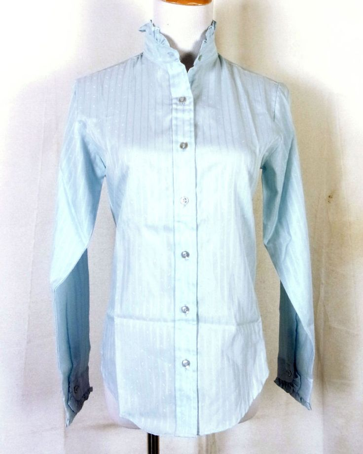 vtg 70s Moving UP NWT Deadstock Ladies Blue Blouse Shirt Top w/ Ascot 11/12