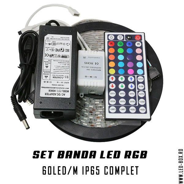 set banda led rgb 5050 smd 60 led metru ip65 waterproof , banda led cu silicon , sursa alimntare 5amperi , controller ir si telecomanda pentru band aled rgb 44 taste infrarosu