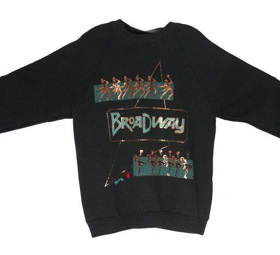 Vintage 90s Metallic Broadway Sweatshirt Crewneck   Adult Size Medium   1990s Style, Retro Design, Teal, Copper and Red