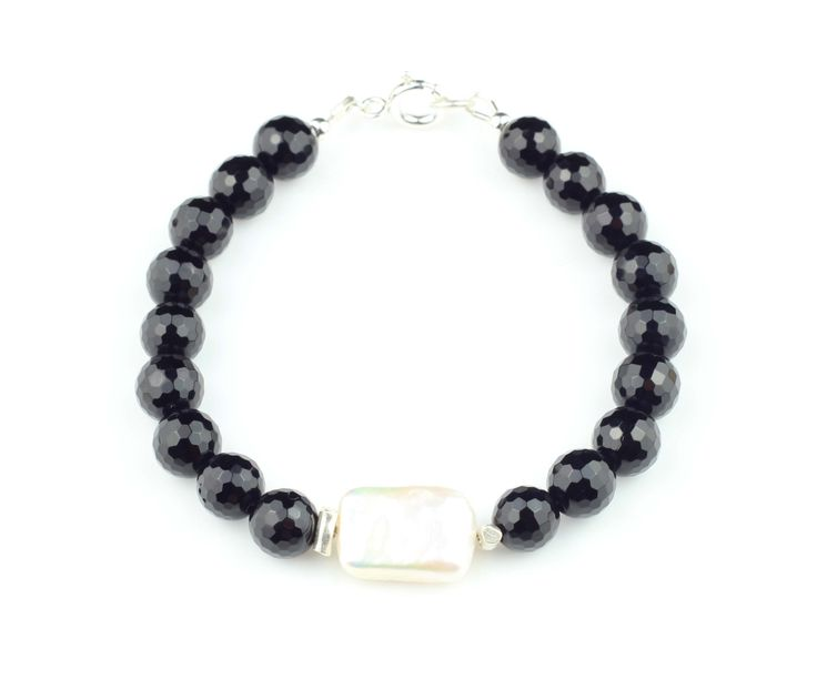 Black Onyx Bracelet, Freshwater Pearl Bracelet, Black Crystal Bracelet, Black Gemstone Bracelet,Black Onyx and Pearl Bracelet, Black White by ILgemstones on Etsy