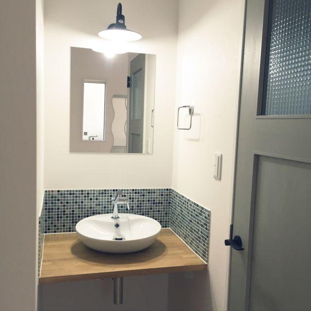 hinaさんの、玄関/入り口,IKEA,モザイクタイル,造作洗面台,のお部屋写真