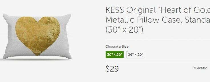 "KESS Original ""Heart of Gold"" Metallic Pillow Case, Standard (30"" x 20"") - Contemporary - Pillowcases And Shams - by KESS Global Inc."