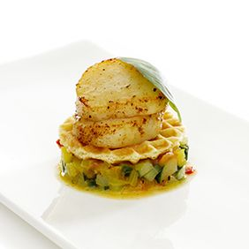 Simple appetizer idea!  Butter waffles with scallops and sautéed vegetables