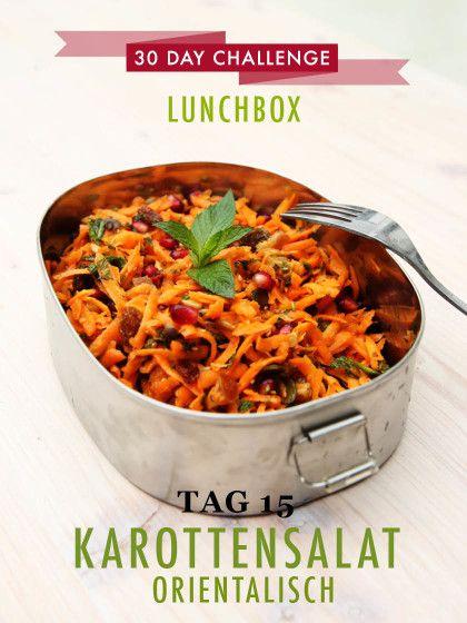 30 day challenge: Jeden Tag ein leckeres Mittagessen für die Büro-Lunchbox zubereiten. Das Rezept für einen orientalischen Karottensalat findet ihr wie immer mit einem Klick auf das Bild.