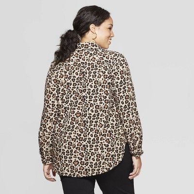 d317ee3503b Women s Plus Size Leopard Print Long Sleeve Collared Button-Down Blouse -  Ava  amp