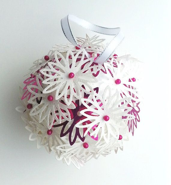 Pink snowflake ball festive decoration holiday by DunnCrafting