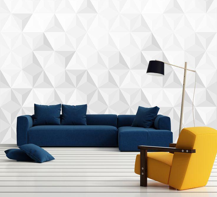 Biela fototapeta vytvorená z trojuholníkov. Dokonalá hra s tieňmi vytvára 3D efekt na stenách | DIMEX