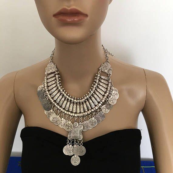Vintage Stil Kuchi Kette Armband - Anweisung Halskette - afghanischen Aqeeq - Halsketten - afghanischen Schmuck - afghanischen - ethnische Halskette - Stein Halskette - Boho - Bauchtanz - sehr Sexy turkmenischen - afghanischen Tribal ethnische Statement Boho - Tuar z.B. Schmuck - Münzenhalskette, Chunky Bohemien - Zigeuner Aussage ethnische Halskette - Vintage - Vintage Damen Geschenk - Geschenk für Sie Dies ist eine schöne Vintage afghanischen Tribal Halskette gefertigt aus alten Metall...