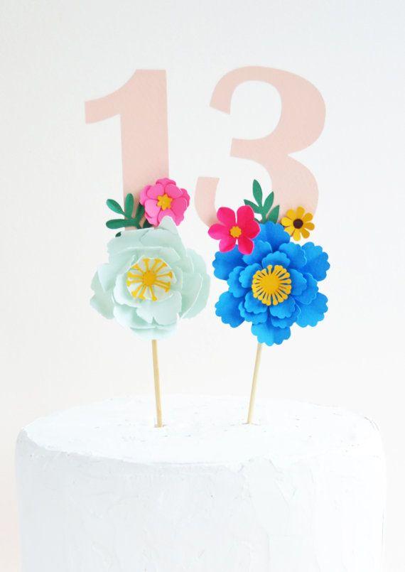Compleanno a mano età carta fiore Cake di MayContainGlitterUK