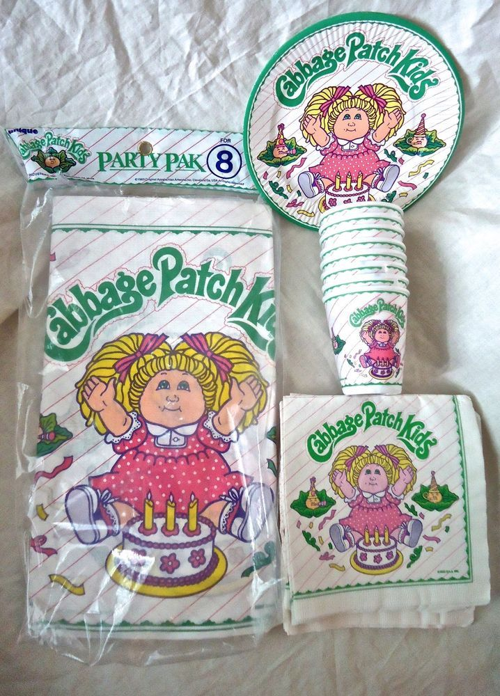 Vintage 1983 Cabbage Patch Kids Party Tableware ~ Pink Stripes  #Unbranded