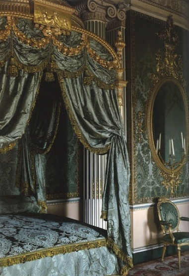The Harewood House, Chippendale Bed. Humphries Weaving recreated silk damask bed drapes, silk lute and tammy linings for the restoration of the Chippendale state bed @HarewoodHouse. #chippendale #bed #blue #silk #damask #fabric #weaving #design www.humphriesweaving.co.uk