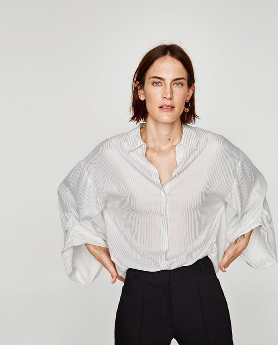 Image 2 of STRIPED FLOWING BLOUSE from Zara
