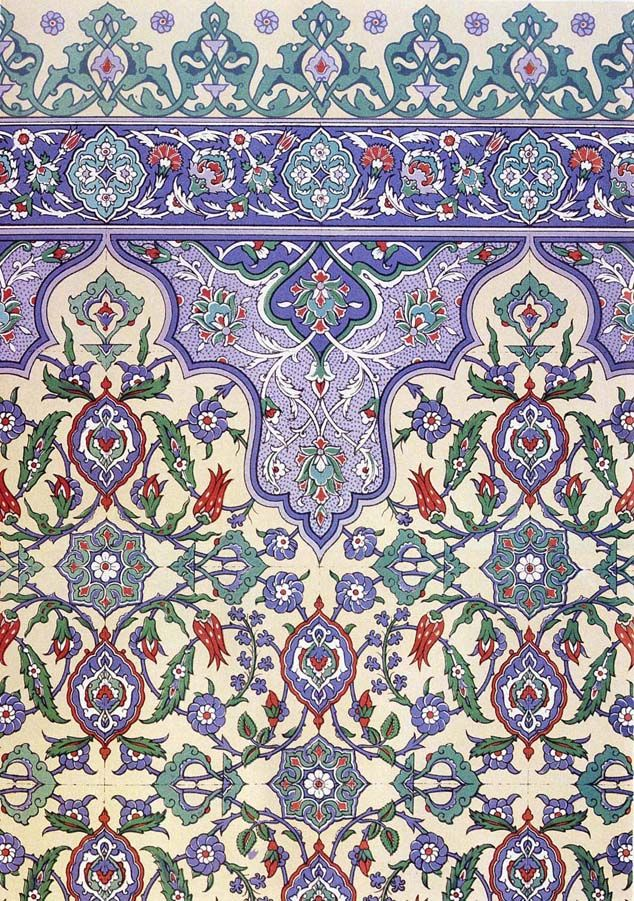 Decorative wall tiling from Qasr Radwan, Cairo, produced in 16th the century