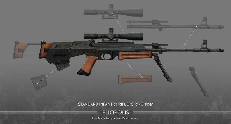 Eliopolis - Standard Infantry Rifle (SIR) - Sniper Kit  #Eliopolis #WWZ #worldwarz #props #conceptart #weapondesign #weapon #art #sniper