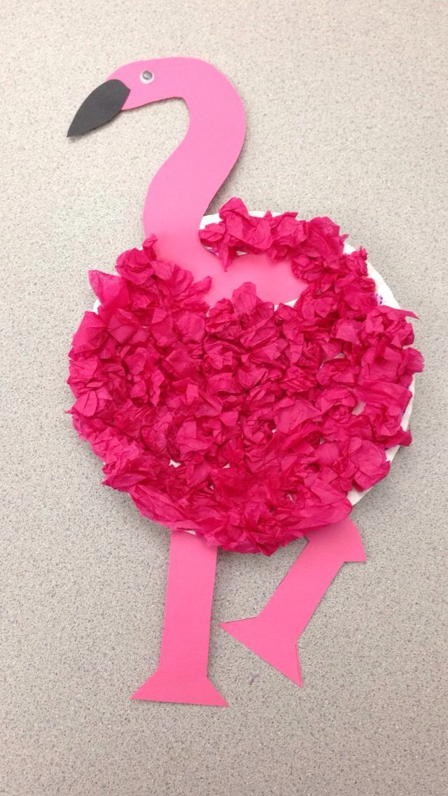 preschool flamingo craft | Flamingo craft. Paper plate, tissue paper Created by Tara