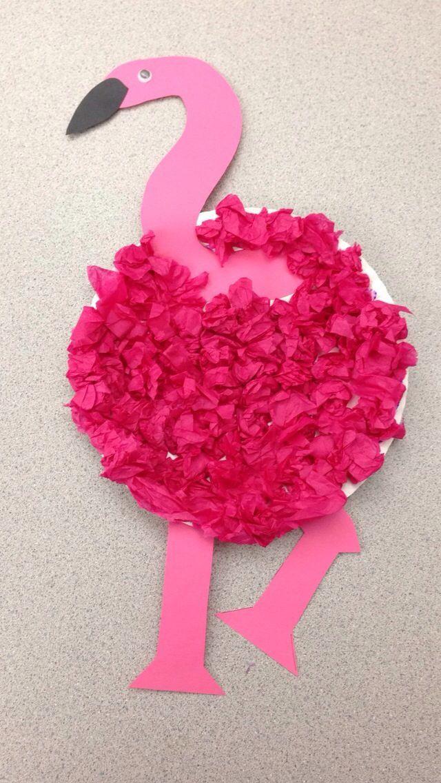 preschool flamingo craft | Flamingo craft. Paper plate, tissue paper Created by Tara