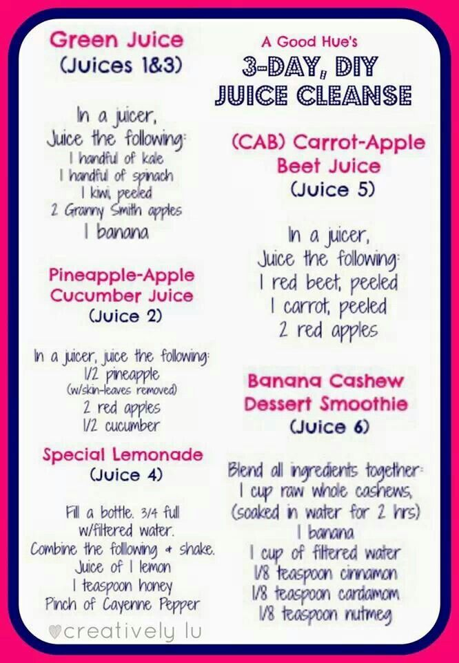 3 Day Juice Cleanse Detox Recipe For My Juice Heads