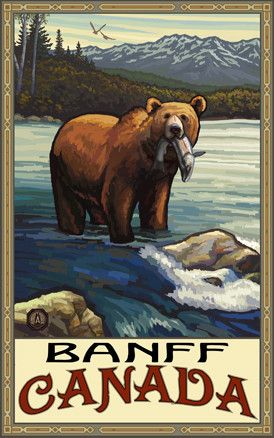 Banff National Park/Brown Bear With Fish Poster • PAL-2516 | The Parks Company