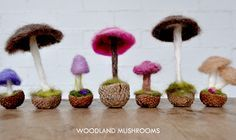 Needle-Felted Mushrooms perfect for fairy tea parties and fall decor.