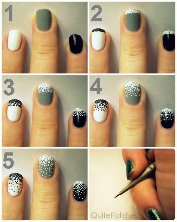 501 best tutorials nail art design ideas images on pinterest black white and grey polka dots nails 38 interesting nail art diy tutorials prinsesfo Image collections