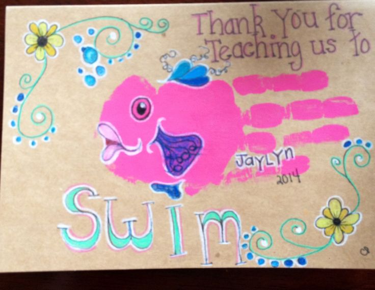 Swim instructor 'Thank you' card