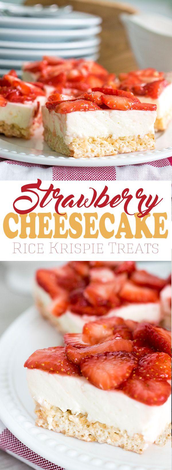 Original Rice Krispie Treats make an easy summertime dessert but strawberry cheesecake rice krispie treats are even better!