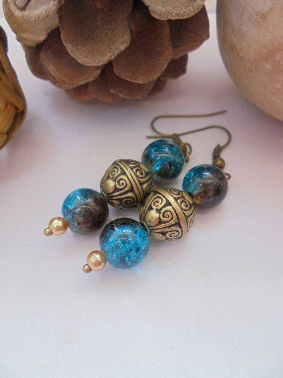 Turquoise dangle boho earrings glass bead unique earrings bronze boho chic  £3.50