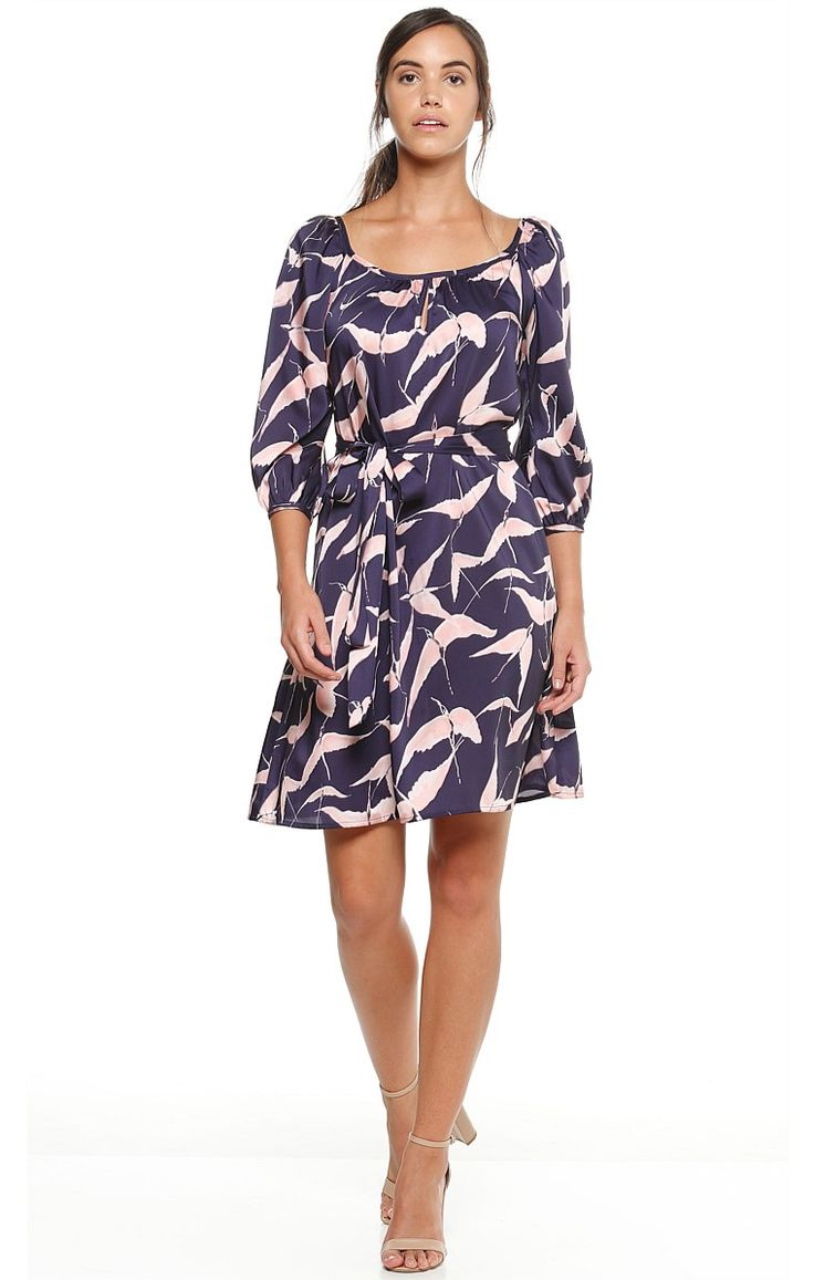 PETAL CRANE 3/4 SLEEVE PRINTED SHIFT TUNIC DRESS IN PINK INDIGO