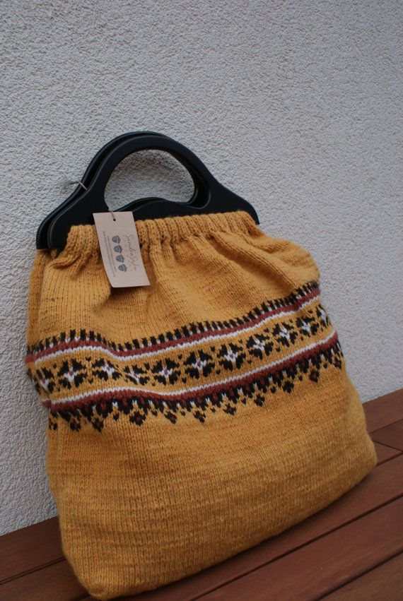 Knitted bag with lining/ wooden handles/ hand by SandraStJuKnits